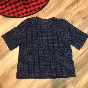 Topshop Blue Textured Paisley Top